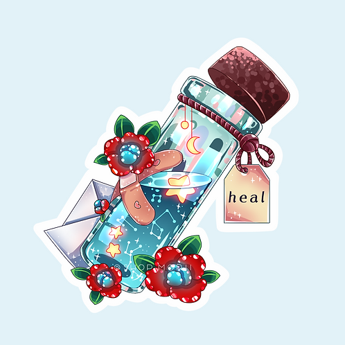 """""""Heal"""" Message-in-a-Bottle Sticker (@catface.exe)"""