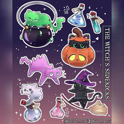 Halloween Cat Sticker Sheet (@catface.exe)