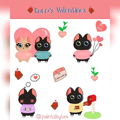 Kuro's Valentines Sticker Sheet (@teesstudioco)