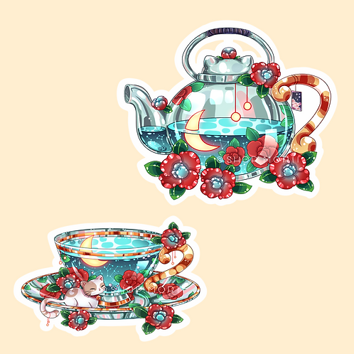 Floral Tea Sticker Pack (@catface.exe)