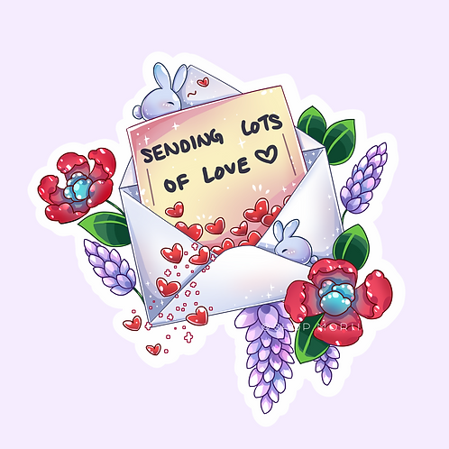 """""""Sending Lots of Love"""" Sticker (@catface.exe)"""