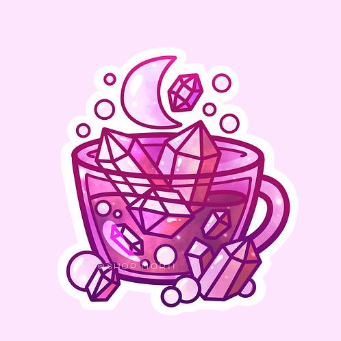 Aesthetic Crystal Teacup Sticker (@heysoleilart)