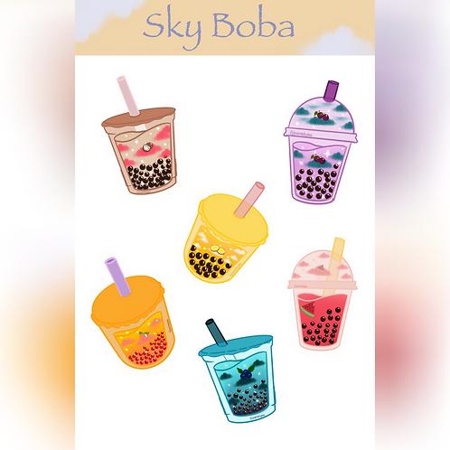 Sky Boba Sticker Sheet (@paintsbytee)