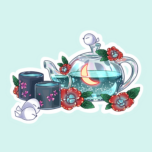"Green Tea ""Relax"" Sticker (@catface.exe)"