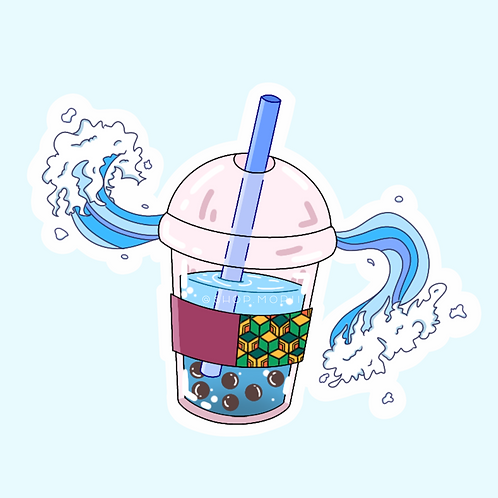 Tomioka-Giyuu-Inspired Boba Sticker (@peaxhy_art)