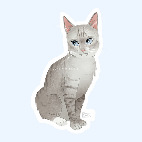 Gray Cat Sticker (@pastel.shark)