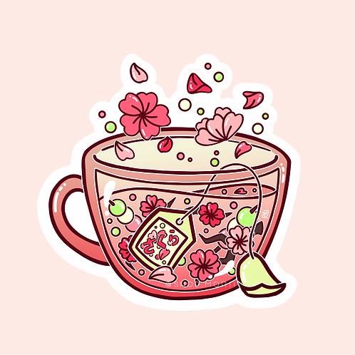 Sakura Tea Sticker (@heysoleilart)