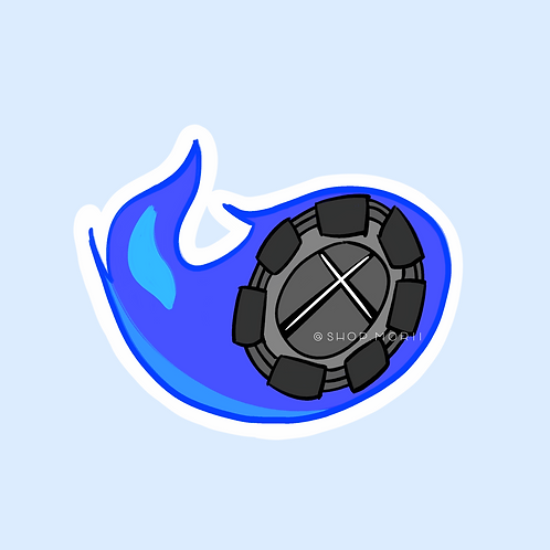 Flaming Omniwheel Sticker (@milpitas_xtreme_robotics)