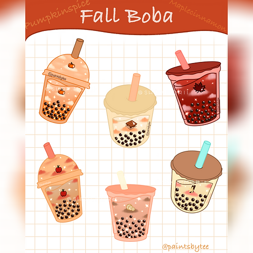 Fall Boba Sticker Sheet (@teesstudioco)