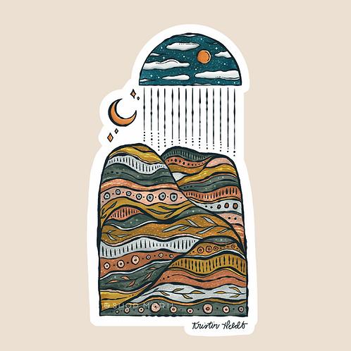 Dreamy Mountainscape Sticker (@kristinheldtart)