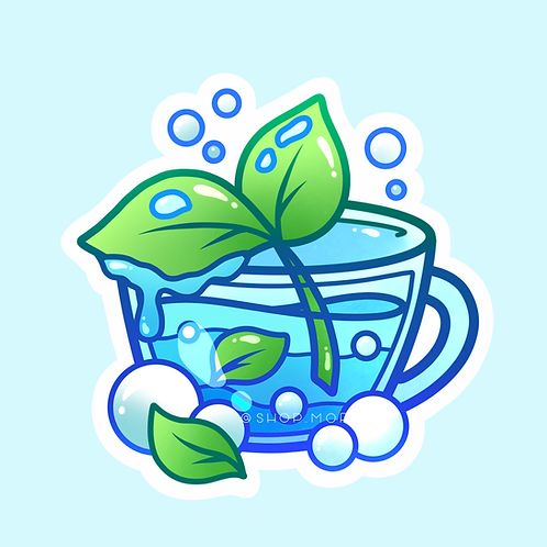 Aesthetic Water Teacup Sticker (@heysoleilart)