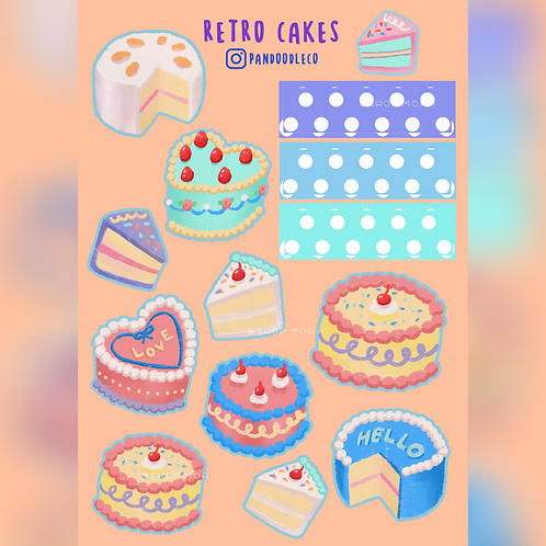 Retro Cakes Sticker Sheet (@_pandoodle)