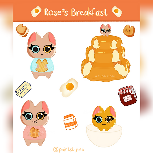 Rose's Breakfast Sticker Sheet (@teesstudioco)