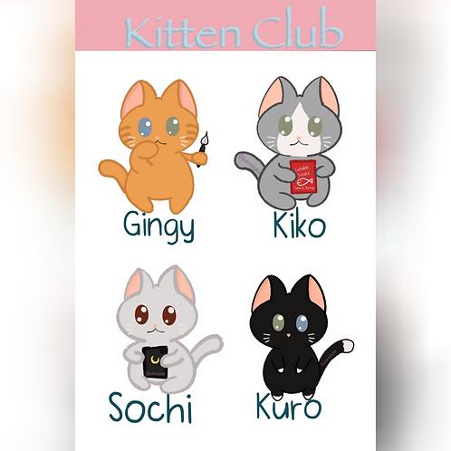 Kitten Club Sticker Sheet (@teestudioco)