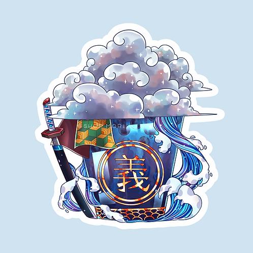 Giyuu-Inspired Bubbletea Sticker (@catface.exe)