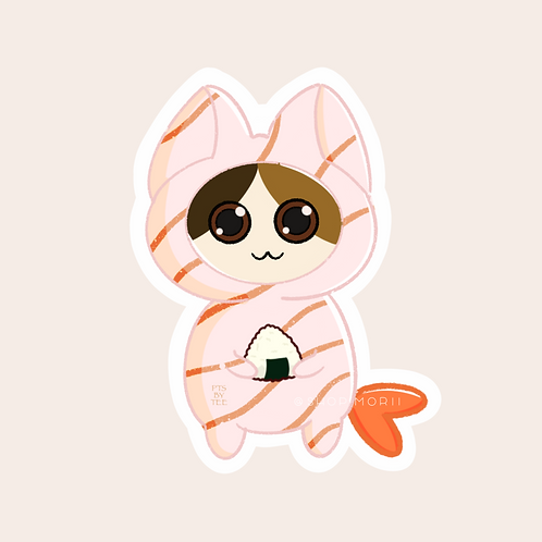 Shrimp Sushi Cats Sticker (@paintsbytee)