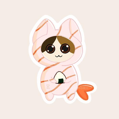 Shrimp Sushi Cats Sticker (@teesstudioco)