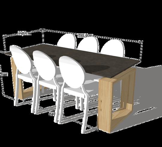 Pieds carres clair table en multiplex, a