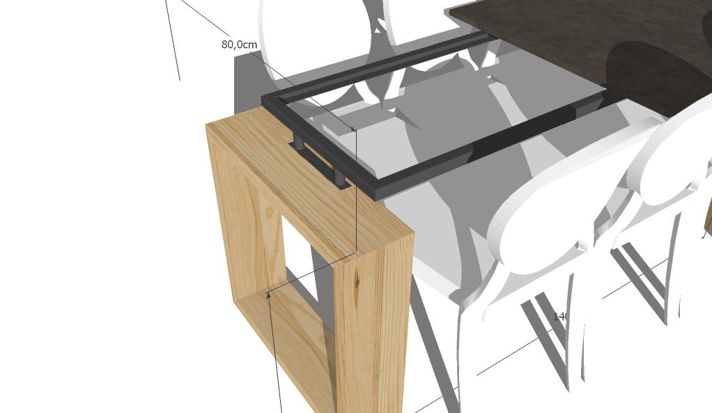 Pieds carres clair table en multiplex, d