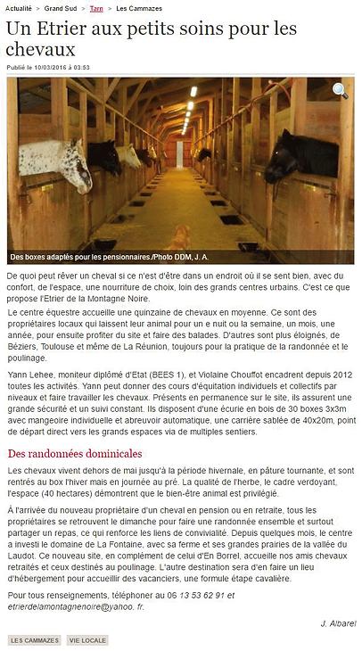 La Dépêche du Midi - Article sur L'Etrier de la Montagne Noire du 10/03/2016
