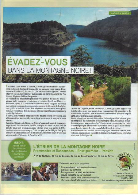 Magazine L'Equit à la Une - Article sur L'Etrier de la Montagne Noire