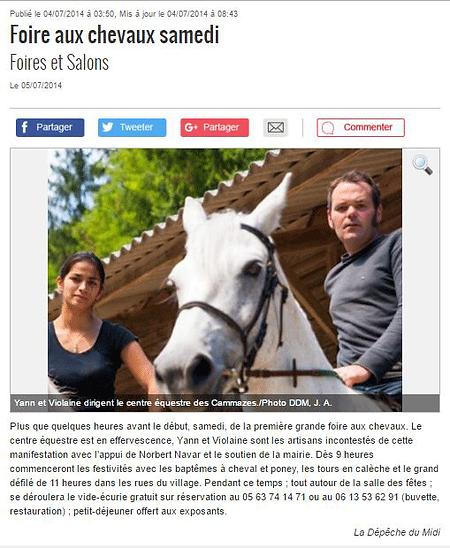 La Dépêche du Midi - 05/07/14 - Foire aux chevaux des Cammazes 2014