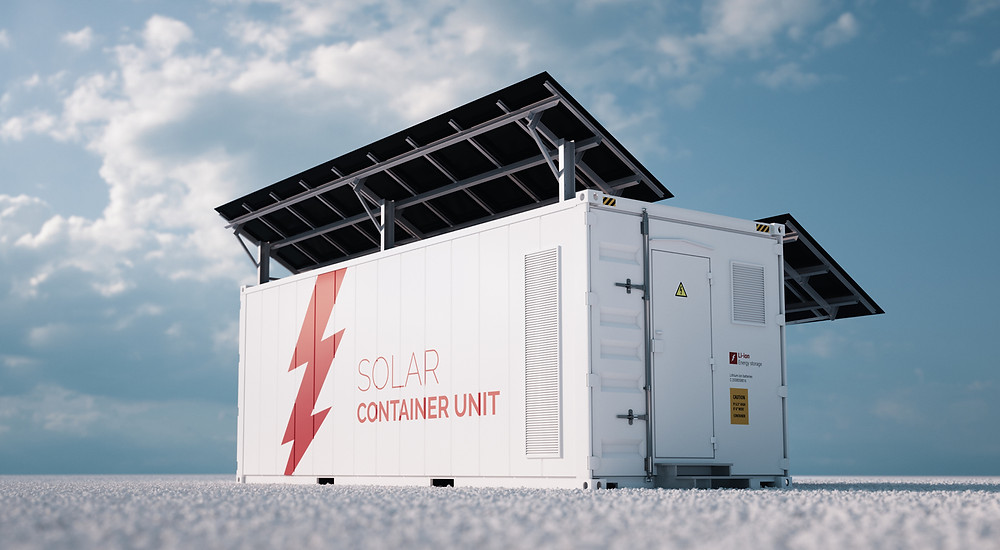 rendering concept of a white industrial battery energy storage container with mounted black solar panels
