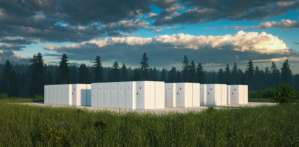 Eco friendly battery energy storage system in nature with misty forest in background and fresh grassland in foreground