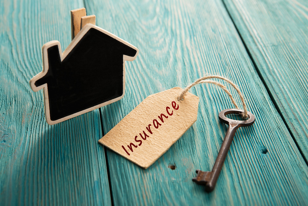 small black cardboard house clip and key with brown paper tag with insurance written on it