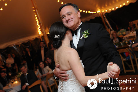 Caroline dances with her father during her April wedding reception at the Fort Adams Trust in Newport, Rhode Island.