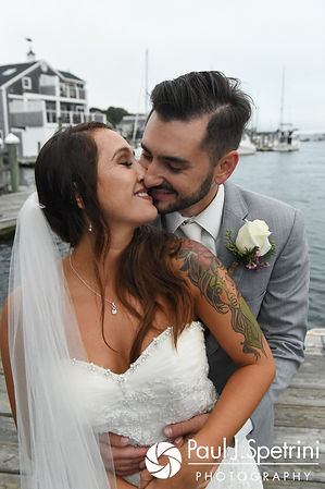 Stacey and John pose for a formal photo prior to their September 2017 wedding in Warren, Rhode Island.
