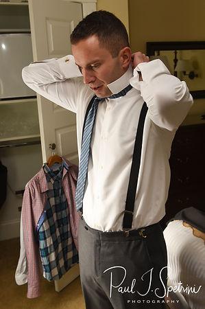 Kurt adjusts his collar prior to his November 2018 wedding ceremony at the Publick House Historic Inn in Sturbridge, Massachusetts.