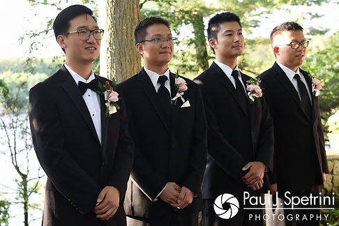 Ao waits for Cynthia to walk down the aisle during his August 2017 wedding ceremony at Lake Pearl in Wrentham, Massachusetts.