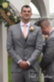 Justin watches Amanda walk down the aisle during his November 2018 wedding ceremony at Five Bridge Inn in Rehoboth, Massachusetts.
