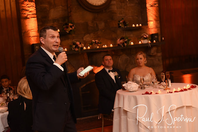 The best man gives a toast during Meghan & Brian's September 2018 wedding reception at Squantum Association in Riverside, Rhode Island.