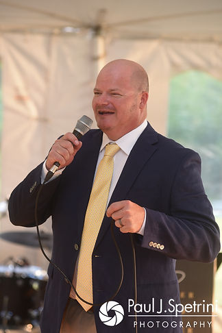One of Kelly's best men gives a speech during Rebecca and Kelly's August 2017 wedding reception in Warwick, Rhode Island.
