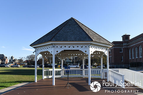 A look at the ceremony site prior to Jennifer and Robert's September 2017 wedding ceremony at Gazebo Park in Narragansett, Rhode Island.