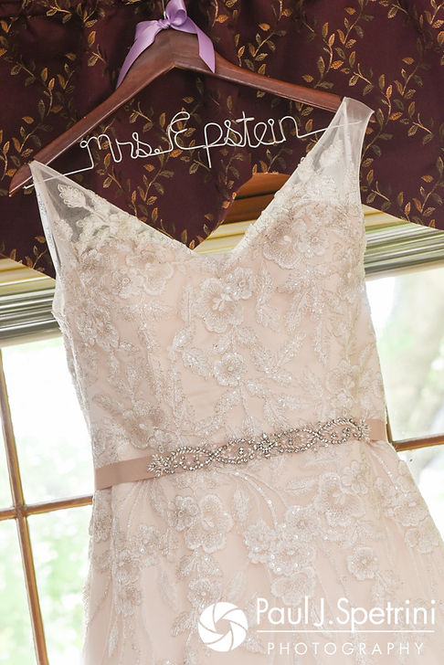 A look at Melissa's wedding dress, on display during her May 2017 bridal prep session at her mother's home in Bristol, Rhode Island.