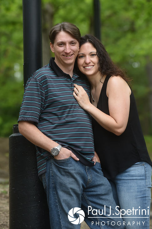 Amanda and Josh smile for a photo at Goddard Park in East Greenwich, Rhode Island during their May 2017 engagement photo session.