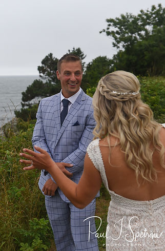 Newport Cliff Walk Wedding Photography, Bride and Groom First Look Photos