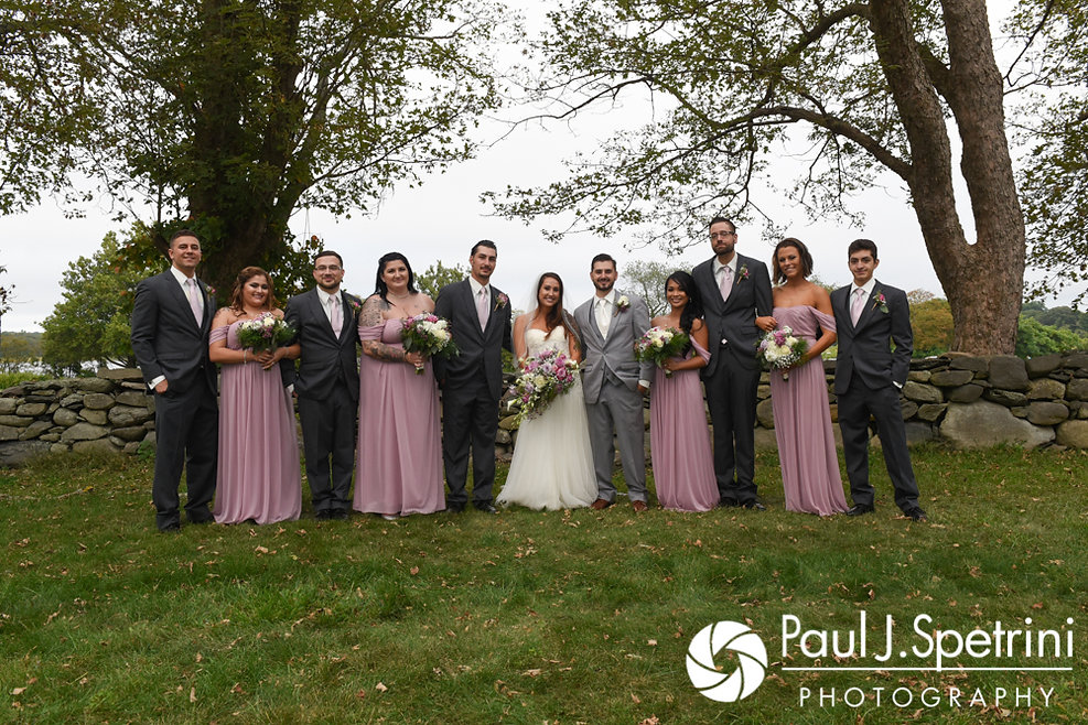 The wedding party poses for a photo following Stacey and John's September 2017 wedding ceremony at Colt State Park in Bristol, Rhode Island.
