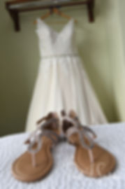 A look at Ashley's dress and shoes prior to her September 2018 wedding ceremony at Stepping Stone Ranch in West Greenwich, Rhode Island.