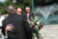 Danielle hugs her father during her August 2018 wedding ceremony at the Roger Williams Park Casino in Providence, Rhode Island.