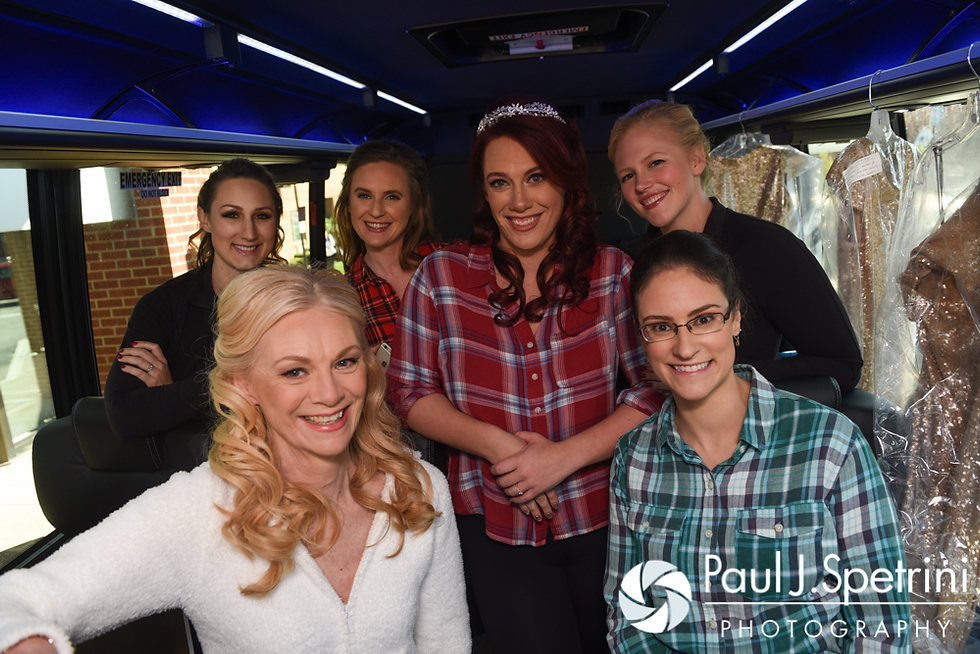 Brooke, her mother and her bridesmaids board a party bus prior to her October 2016 wedding ceremony at The Farm at SummitWynds in Jefferson, Massachusetts.