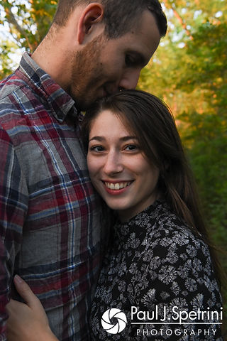 Jessica and Keiran pose for a photo at Ryan Park in North Kingstown, Rhode Island during their August 2017 engagement session.