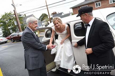 Tricia and her father arrive to the church prior to her October 2017 wedding ceremony at St. Brendan Parish in Riverside, Rhode Island.