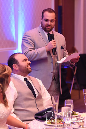 The best man gives a toast during Sarah & Anthony's October 2018 wedding reception at The Omni Hotel in Providence, Rhode Island.