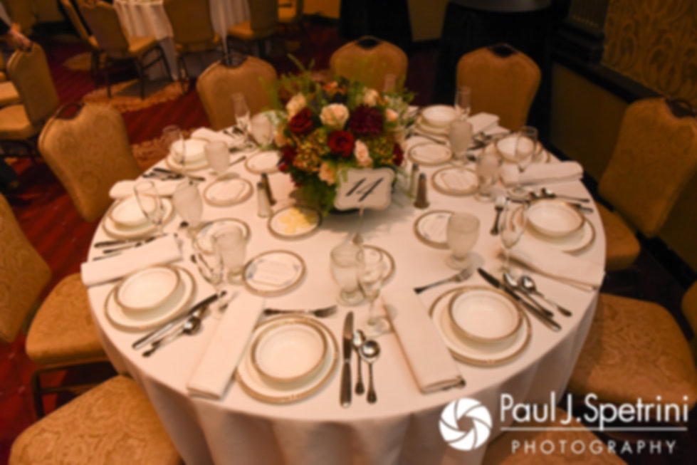 A look at the table settings prior to Tricia and Kevin's October 2017 wedding reception at the Providence Biltmore in Providence, Rhode Island.