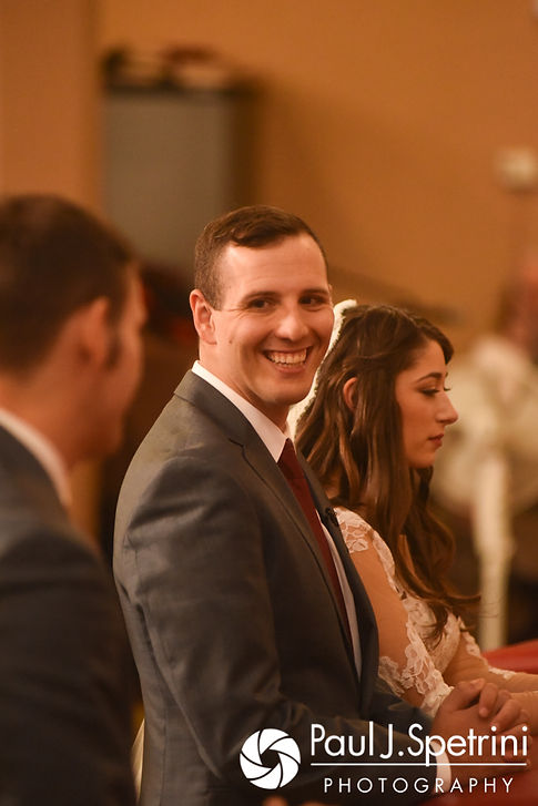 Keiran smiles during his October 2017 wedding ceremony at the Assumption of the Blessed Virgin Mary Church in Providence, Rhode Island.