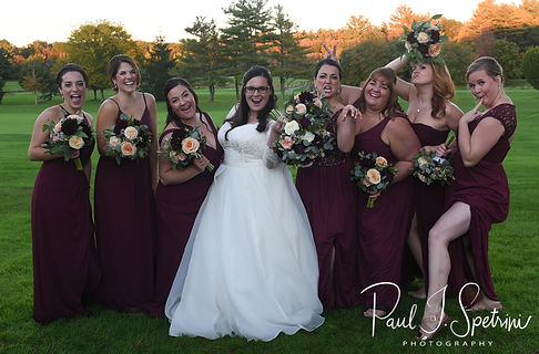 Katie poses for a photo with her bridesmaids following her October 2018 wedding ceremony at The Villa at Ridder Country Club in East Bridgewater, Massachusetts.